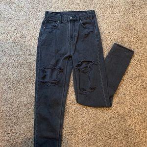 Black High-Waisted Mom Jeans American Eagle